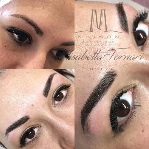 Ragazza  prima e dopo intervento make-up trucco permanente