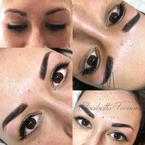 Viso di una ragazza dopo intervento di make-up semipermanente alle sopracciglia