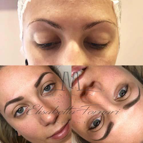Risultato dopo il ritocco make-up semipermanente sopracciglia